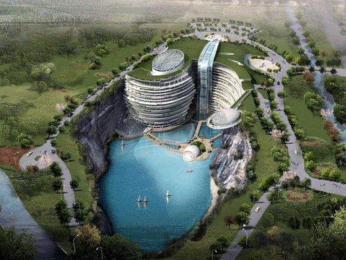 Même la Chine s'y met : ce projet d'hôtel près de Shanghai, dans le district de Songjiang pensé par Atkins, situé dans une ancienne carrière de 100 m de profondeur, comprendrait 400 lits et proposerait des restos, cafés et salles de sports