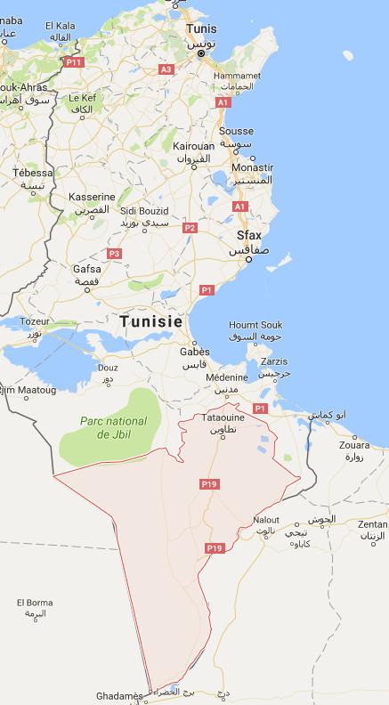 Le gouvernorat de Tataouine est situé dans le sud de la Tunisie - DR : Google Maps
