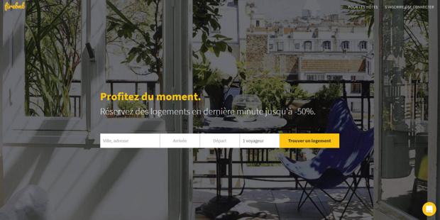 Firebnb propose les logements des plateformes de location entre particuliers en réduction pour des réservations de dernière minute - Capture d'écran