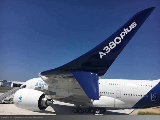 Le nouvel A380 plus d'Airbus, lundi 19 mai au Bourget. © DR Airbus