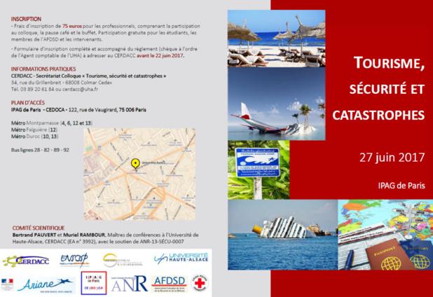 """Colloque """"Tourisme, sécurité et catastrophes"""" le 27 juin à Paris"""