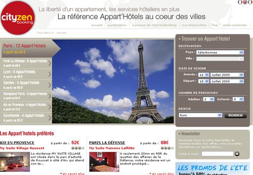 Cityzenbooking.com centralise l'offre d'Appart'hotels