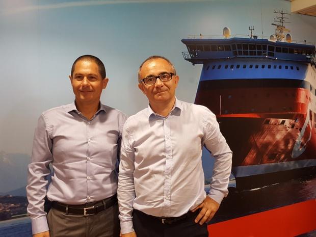 Pascal Trojani, président de Corsica Linea et Pierre-Antoine Villanova, directeur général de la compagnie à bord du Jean Nicoli, le 21 juin 2017 - DR : A.B.