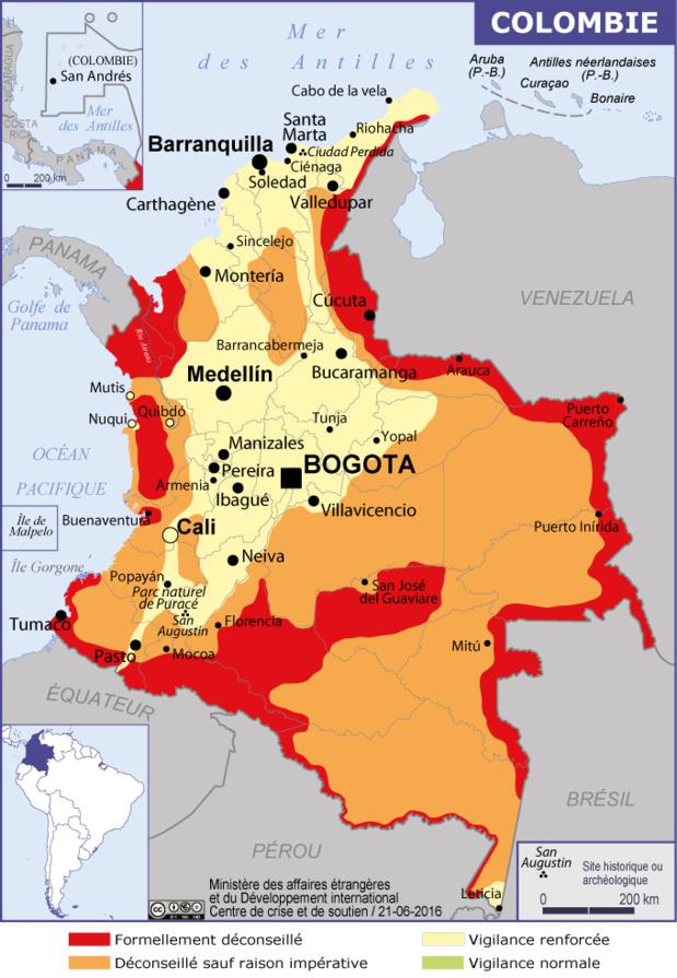 Colombie : la carte publiée sur le site de MAE - DR