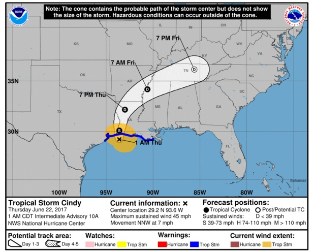 Etats-Unis : la tempête Cindy attendue jeudi sur les côtes du Texas et de Louisiane