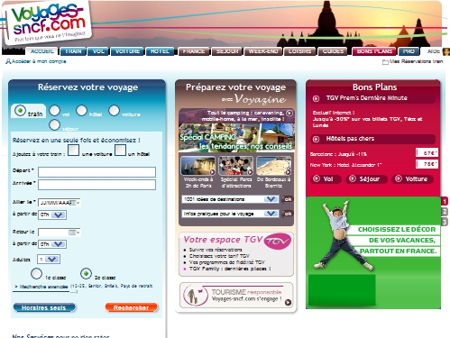 Champion toutes catégories des ventes de dernière minute (VDM) sur Internet : Voyages-sncf.com !   Tout au moins en apparence. Le site affiche en gros et en gras les réductions consenties...