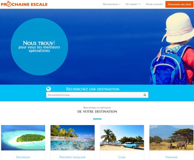 Prochaine Escale propose la recherche de voyages sur-mesure et la mise en relation entre clients et spécialistes des destinations - Capture d'écran