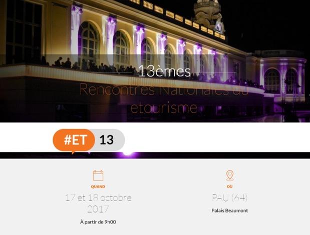 Les Rencontres nationales du eTourisme (#ET13) se tiendront à Pau, les 17 et 18 octobre 2017 au sein du Palais Beaumont - DR : #ET13