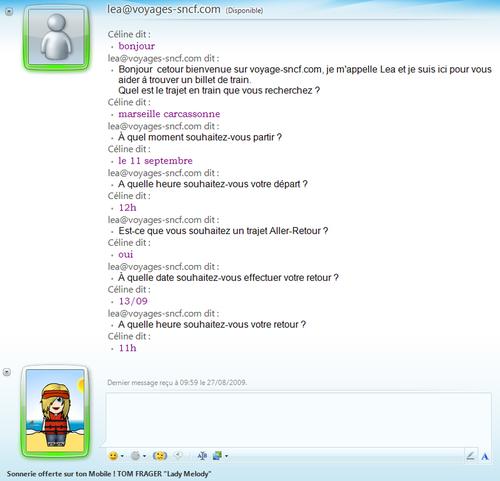 Voici une discussion sur MSN ave Léa pour la réservation d'un billet de train
