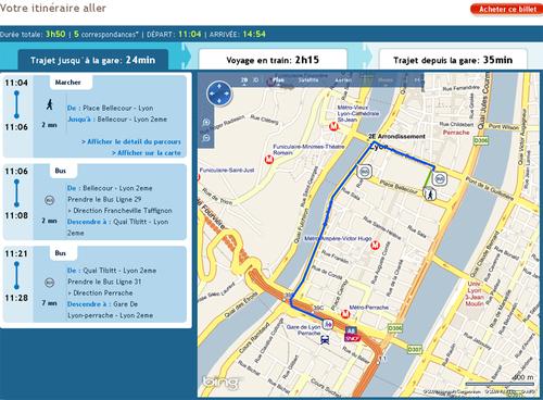 Exemple de départ de Lyon avec le service Porte @ Porte