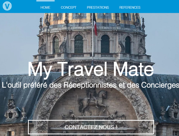Capture d'écran du site Internet de My Travel Mate