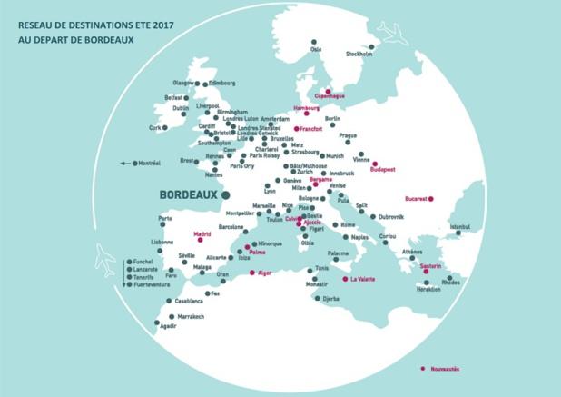 L'aéroport de Bordeaux a ajouté 12 nouvelles lignes pour la saison d'été 2017 - DR Aéroport de Bordeaux