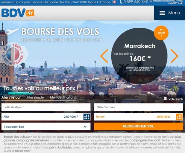"""Les 3 premiers mois de l'année 2017 ont été """"très très bons"""" pour Bourse des Vols - DR : Capture d'écran Bdv.fr"""