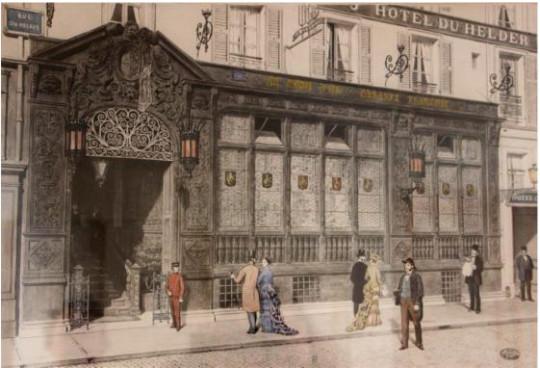 Charles Baude, graveur, « Paris. Le nouveau restaurant de la rue du Helder : vue extérieure », 1880