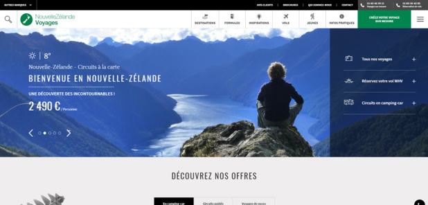 Capture d'écran de la nouvelle version du site Internet de Nouvelle-Zélande Voyages