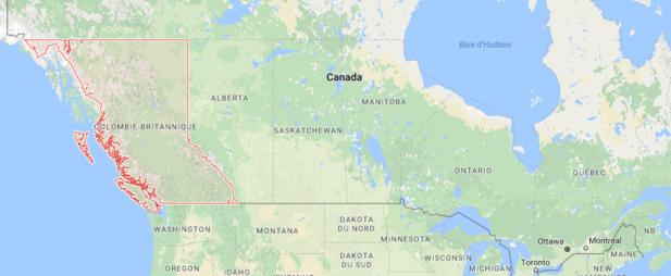 Les incendies touchent la Colombie-Britannique actuellement - DR : Google Maps