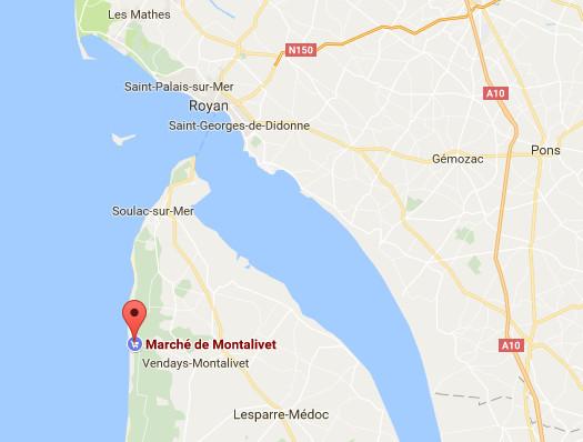 L'accident s'est produit sur le marché de Montalivet, en Gironde - DR : Google Maps