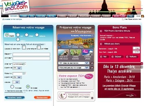 Grâce à la billetterie, Voyagessncf.com continue de caracoler loin devant les autres sites de commerce en ligne français