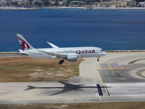 Un appareil Qatar Airways se posant à Nice le 4 juillet, pour la ré-ouverture de la ligne vers Doha © DR Qatar Airways