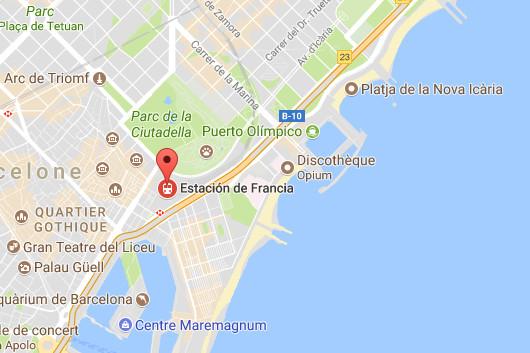 L'accident s'est produit dans la station de France, une gare du centre-ville de Barcelone - DR : Google Maps
