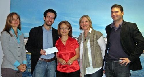 (Cliquer pour agrandir) Mme Miranda Ford (Directrice Marketing et Communication), M. Erminio Eschena, Mme Corinne Camacho, Mme Aurore Snick et M. Rodolphe Richy (commerciaux)