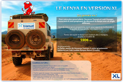 Vacances Transat/Look Voyages : offre agent de voyages au Kenya