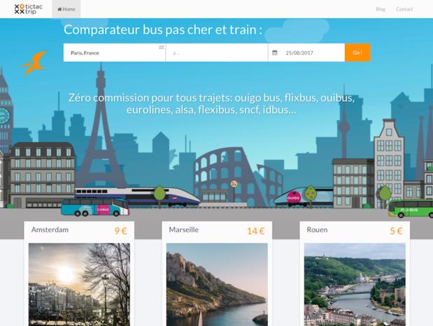 TicTacTrip est un comparateur de voyages qui combine les différents moyens de transport, pour fournir les trajets les moins chers possibles. (c) TicTacTrip