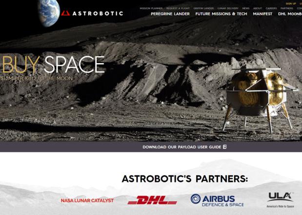 Capture d'écran de la page d'accueil du site d'Astrobotics