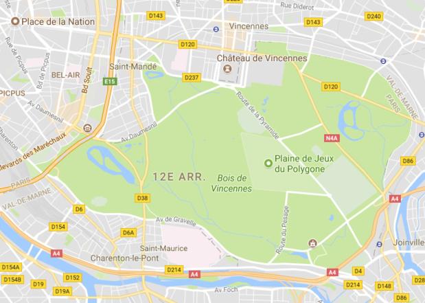 La zone naturiste du Bois de Vincennes s'étend sur 7 300 m² - DR : Google Maps