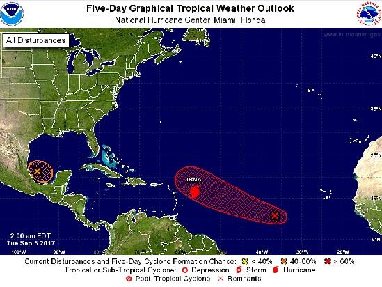 La trajectoire probable d'Irma fournie par le Centre National des Ouragans - DR : Copie écran NHC