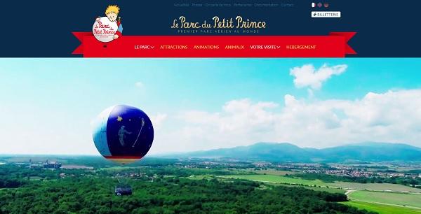 Copie écran du site internet du parc du Petit Prince