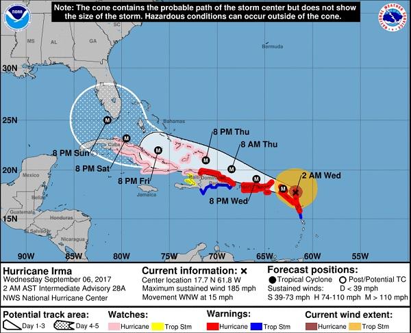 La trajectoire estimée d'Irma. Copie écran du site internet du NOAA.