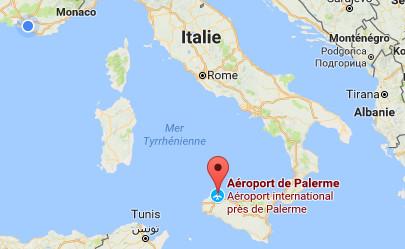 Le vol devait partir de Palerme à destination de Marseille, dimanche 10 septembre 2017 - DR : Google Maps