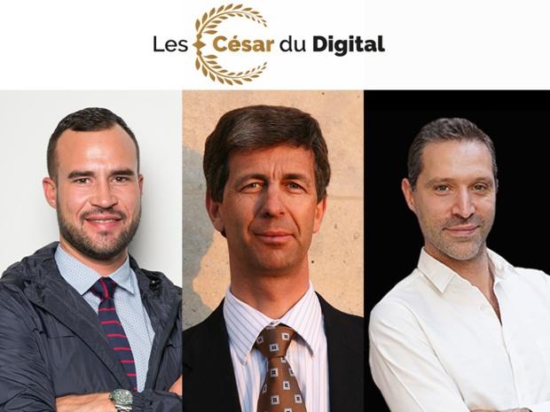 Fabien Da Luz, directeur général et associé du groupe TourMaG.com, Rémi Bain-Thouverez, éditeur chez I-Tourisme et Hervé Bloch, fondateur des Big Boss du Tourisme, lancent les César du Digital. Photo: TourMaG.com