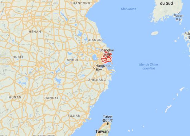 Les régions de l'Est de la Chine, autour de Shanghai, seront touchées par le passage du typhon Talim dans les prochains jours - DR : Google Maps
