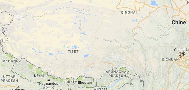"""La Chine va """"fermer"""" la région autonome du Tibet pendant le congrès du PC chinois du 18 au 28 octobre 2017 - DR : Google Maps"""