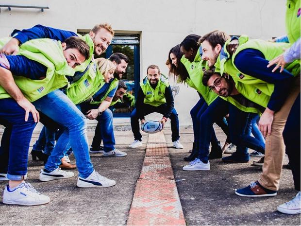 L'équipe de Couleur Groupe se prépare avec Frédéric Michalak, pour la coupe du monde de 2019 - Crédit photo : Couleur Groupe