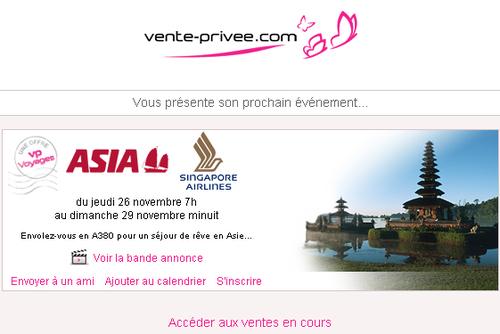 Asia et Singapore Airlines sur Vente-privee.com