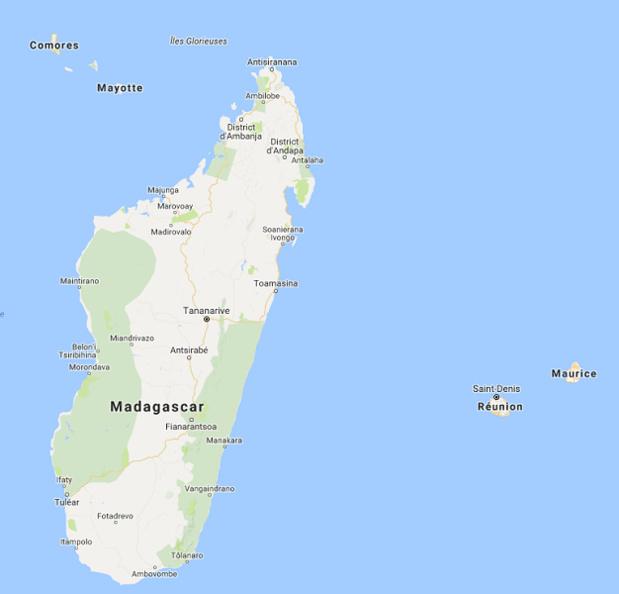 L'île de Madagascar est touchée par une épidémie de peste bubonique et pulmonaire - DR : Google Maps
