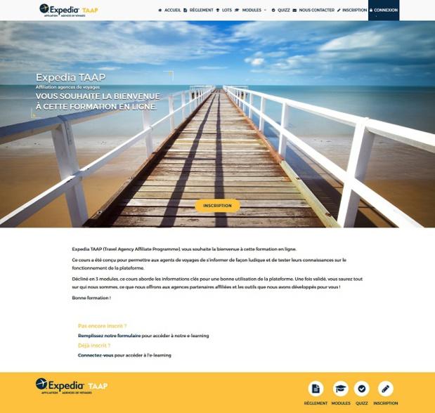 Capture d'écran de l'e-learning d'Expedia TAAP