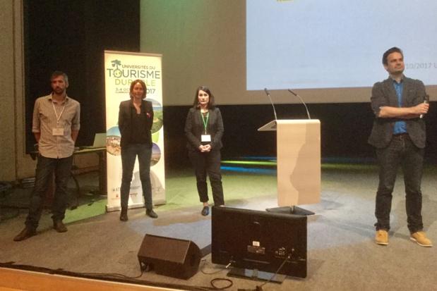 Les intervenants à la plénière : Gregory Dissoubray (Enercoop), Delphine Joannet (VVF), Audrey Gaunot (Chamina), Guillaume Cromer (ATD) - Photo : J.-P.C.