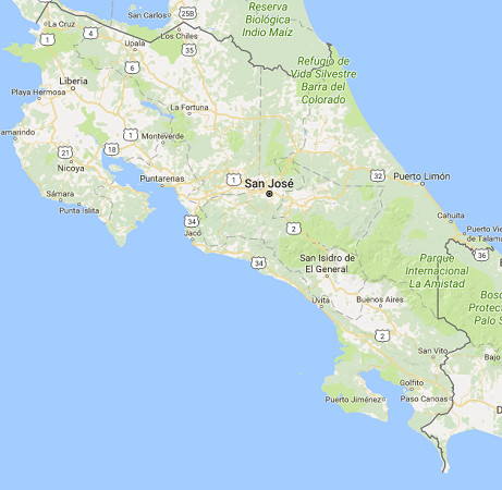 Le Costa Rica est en alerte rouge à cause d'une tempête tropicale - DR : Google Maps