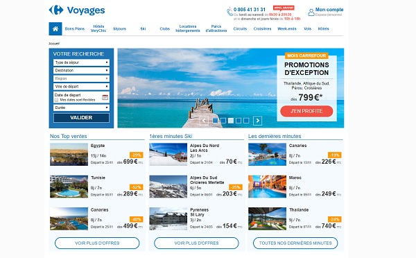 La brochure hiver Vacances ULVF est déjà présente dans les magasins Carrefour Voyages - Capture écran du site voyages.carrefour.fr