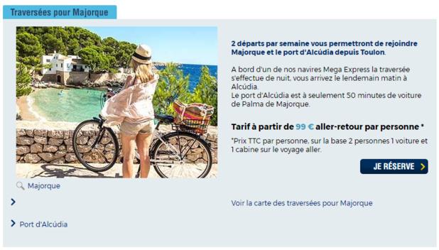 Les rotations débuteront le 21 avril 2018 entre Toulon et l'île de Majorque aux Baléares - DR
