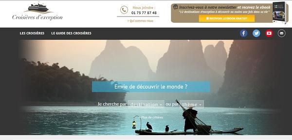 Croisières d'exception sort un nouveau catalogue pour les agents voyages - Copie écran du site croisieres-exception.fr