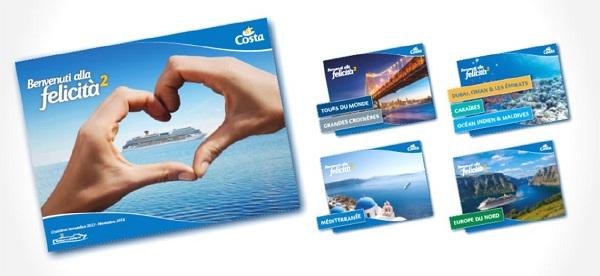 Les 5 nouvelles brochures sont d'ores et déjà disponibles en agence de voyages - Crédit photo : Costa.