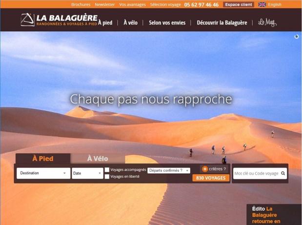 La Balaguère est un TO d'aventure spécialisé dans la randonnée pédestre et le trekking - photo : copie d'écran du site La Balaguère