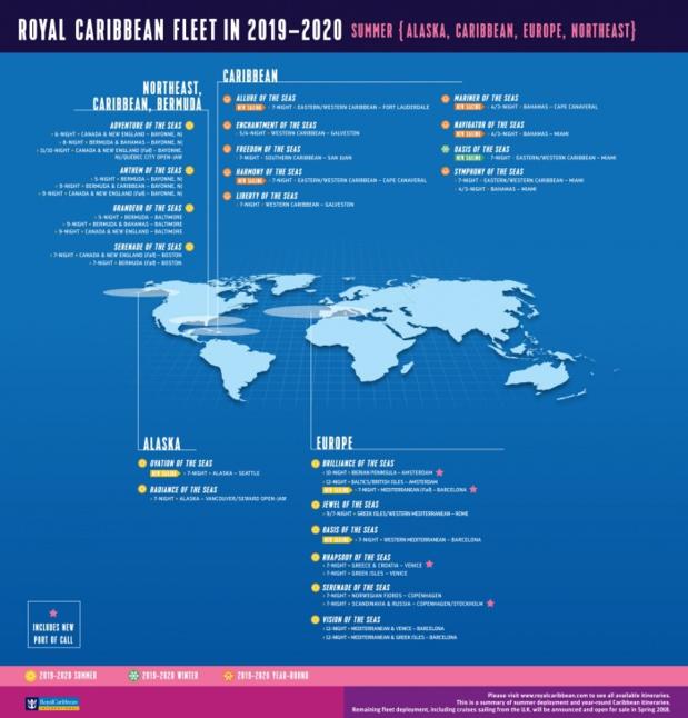 La liste des bateaux de Royal Caribbean, selon les zones du monde - Crédit photo : Royal Caribbean