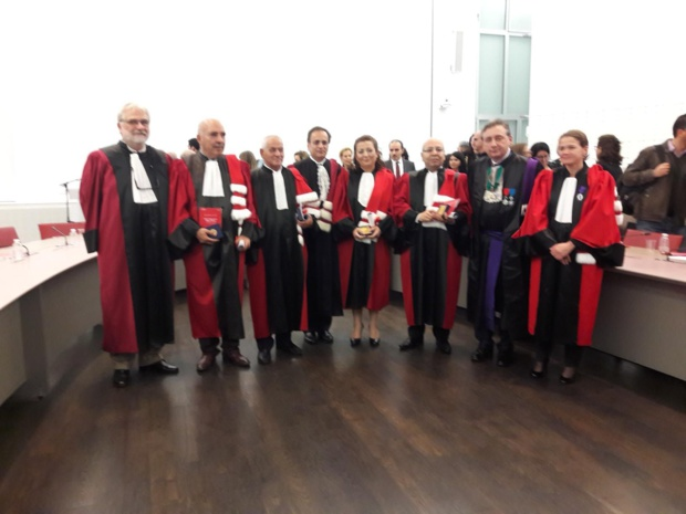 Au centre le Quartet tunisien entouré par les membres de la Faculté dont Isabelle Huault présidente de l'Université Paris-Dauphine et Gilles Pécout, recteur de l'Académie de Paris et chancelier des universités de Paris. MS.