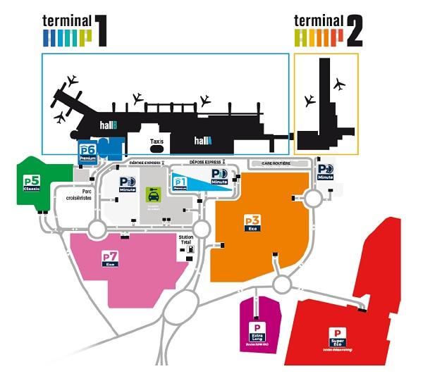 Voici le plan de l'aéroport présentant les nouvelles appellations, et la signalétique - Capture écran : Aéroport de Marseille Provence